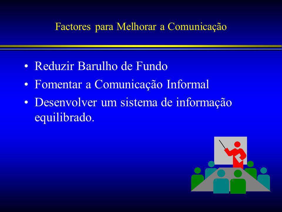 Factores para Melhorar a Comunicação Reduzir Barulho de Fundo Fomentar a Comunicação Informal Desenvolver um sistema de informação equilibrado.