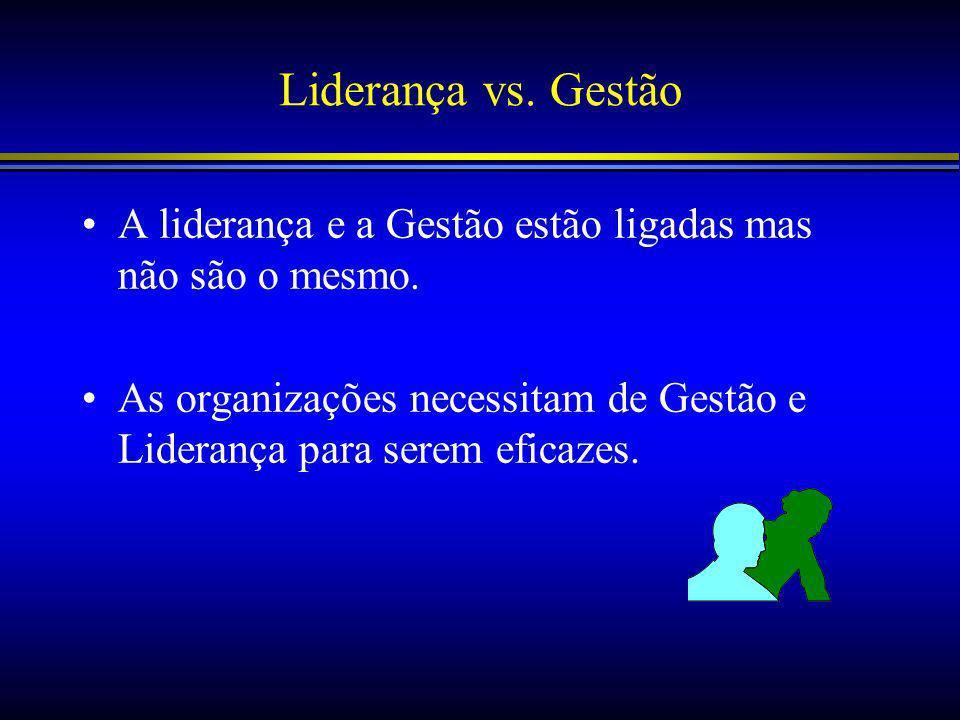 Liderança vs.Gestão A liderança e a Gestão estão ligadas mas não são o mesmo.