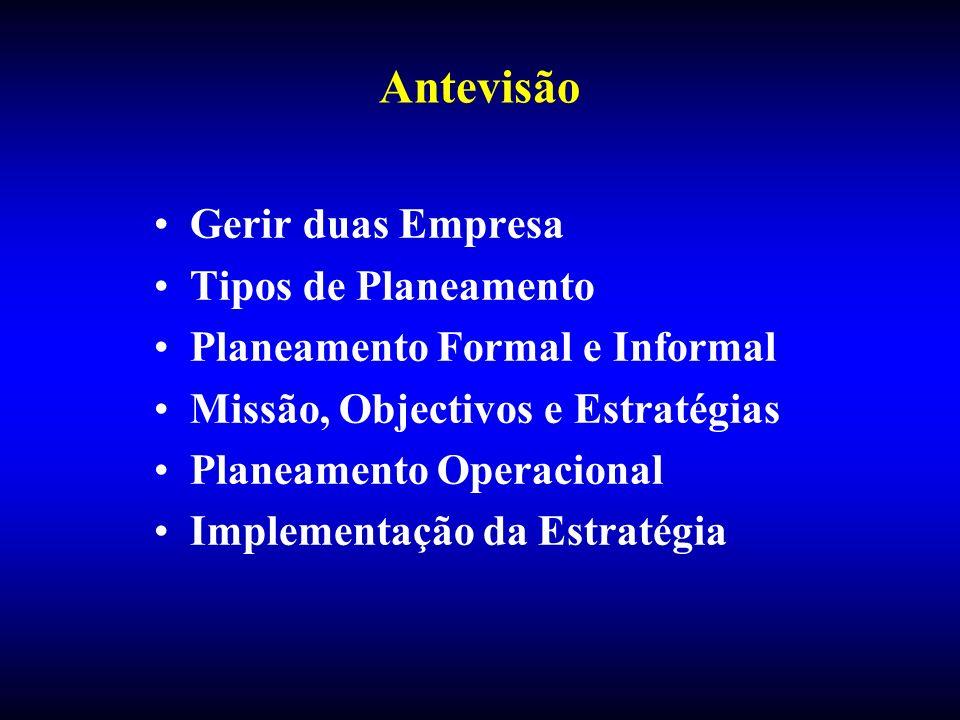 Antevisão Gerir duas Empresa Tipos de Planeamento Planeamento Formal e Informal Missão, Objectivos e Estratégias Planeamento Operacional Implementação