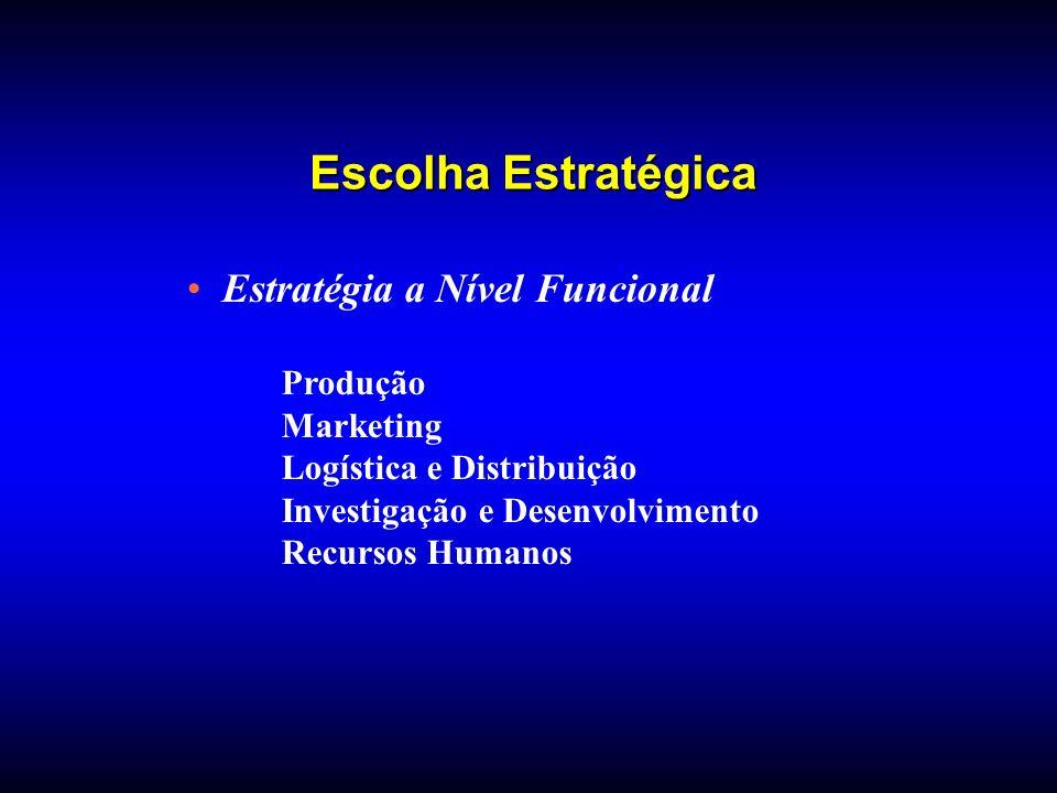 Estratégia a Nível Funcional Produção Marketing Logística e Distribuição Investigação e Desenvolvimento Recursos Humanos Escolha Estratégica