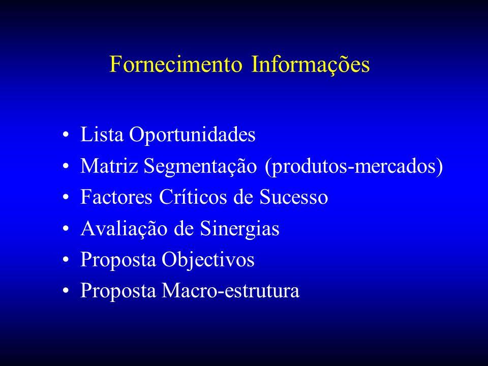 Fornecimento Informações Lista Oportunidades Matriz Segmentação (produtos-mercados) Factores Críticos de Sucesso Avaliação de Sinergias Proposta Objec