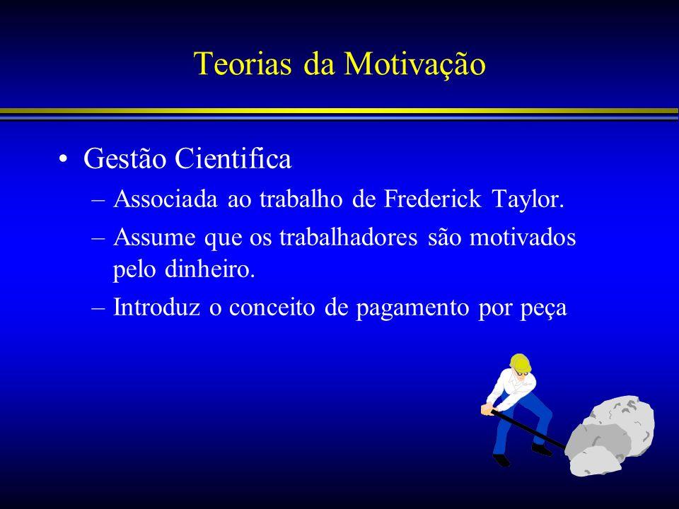 Teorias da Motivação Gestão Cientifica –Associada ao trabalho de Frederick Taylor. –Assume que os trabalhadores são motivados pelo dinheiro. –Introduz