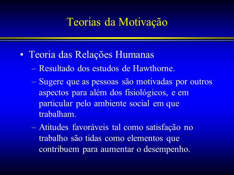 Teorias da Motivação Teoria das Relações Humanas –Resultado dos estudos de Hawthorne. –Sugere que as pessoas são motivadas por outros aspectos para al
