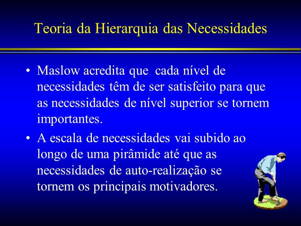 Teoria da Hierarquia das Necessidades Maslow acredita que cada nível de necessidades têm de ser satisfeito para que as necessidades de nível superior