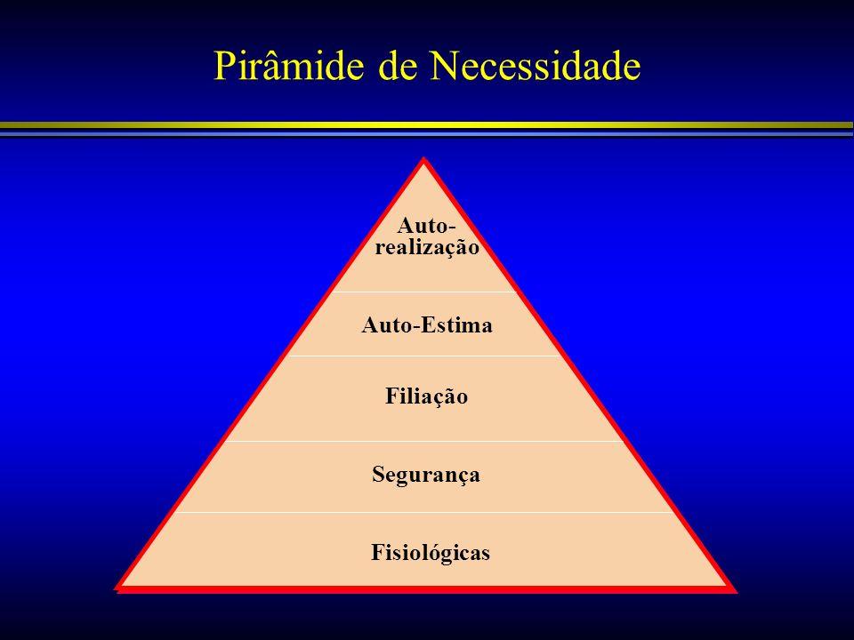 Pirâmide de Necessidade Auto- realização Auto-Estima Filiação Fisiológicas Segurança