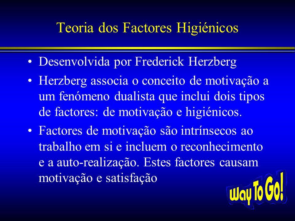 Teoria dos Factores Higiénicos Desenvolvida por Frederick Herzberg Herzberg associa o conceito de motivação a um fenómeno dualista que inclui dois tip