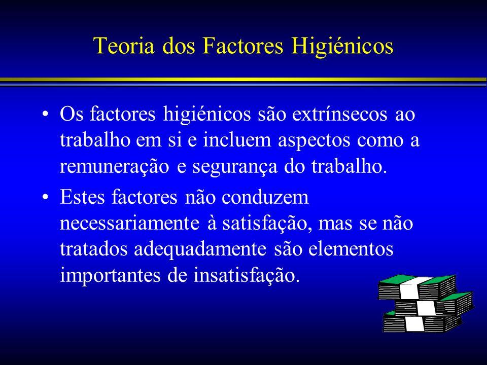 Teoria dos Factores Higiénicos Os factores higiénicos são extrínsecos ao trabalho em si e incluem aspectos como a remuneração e segurança do trabalho.