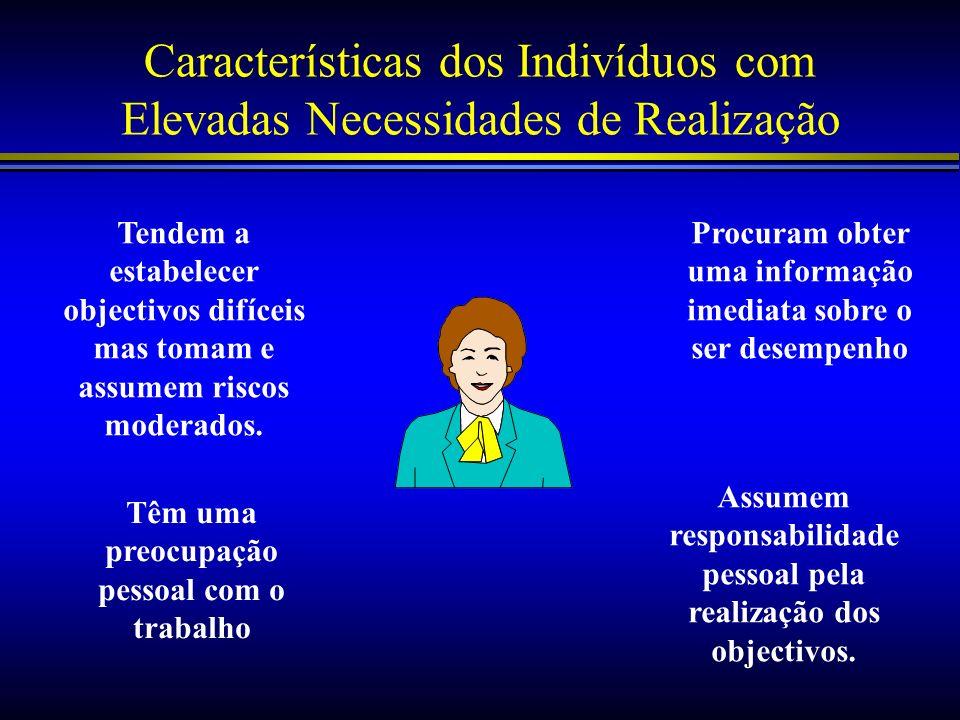 Características dos Indivíduos com Elevadas Necessidades de Realização Assumem responsabilidade pessoal pela realização dos objectivos. Procuram obter
