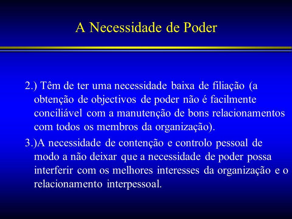 A Necessidade de Poder 2.) Têm de ter uma necessidade baixa de filiação (a obtenção de objectivos de poder não é facilmente conciliável com a manutenç
