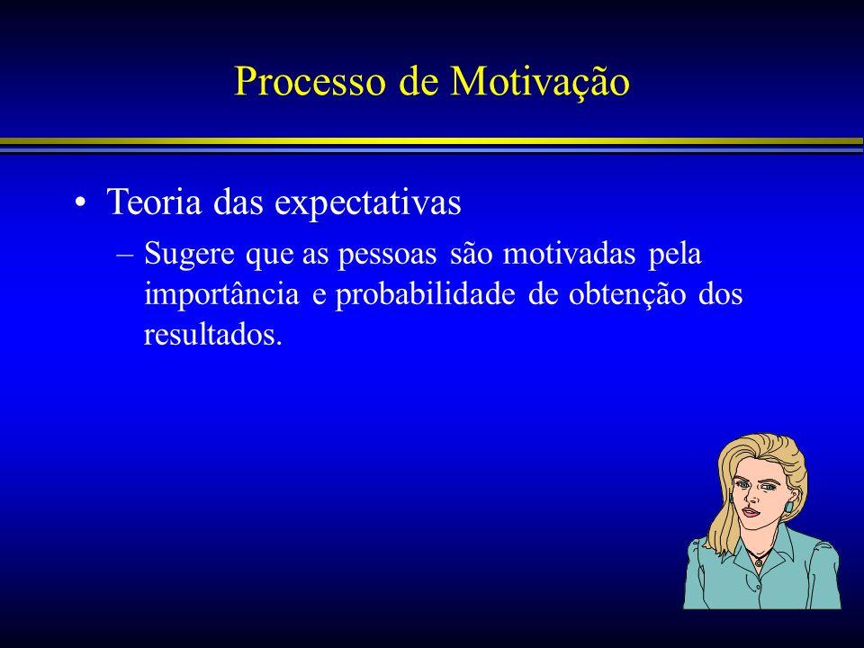 Processo de Motivação Teoria das expectativas –Sugere que as pessoas são motivadas pela importância e probabilidade de obtenção dos resultados.