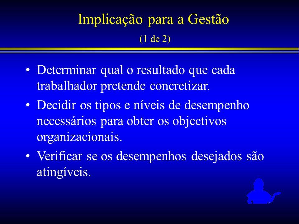 Implicação para a Gestão (1 de 2) Determinar qual o resultado que cada trabalhador pretende concretizar. Decidir os tipos e níveis de desempenho neces