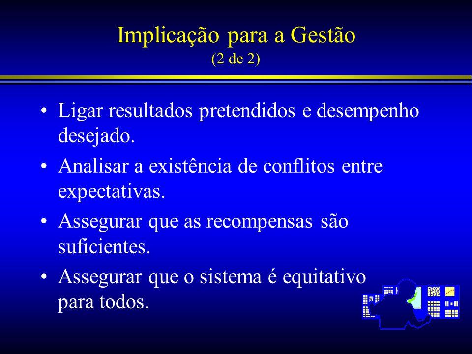 Implicação para a Gestão (2 de 2) Ligar resultados pretendidos e desempenho desejado. Analisar a existência de conflitos entre expectativas. Assegurar