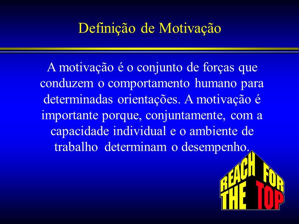 Definição de Motivação A motivação é o conjunto de forças que conduzem o comportamento humano para determinadas orientações. A motivação é importante
