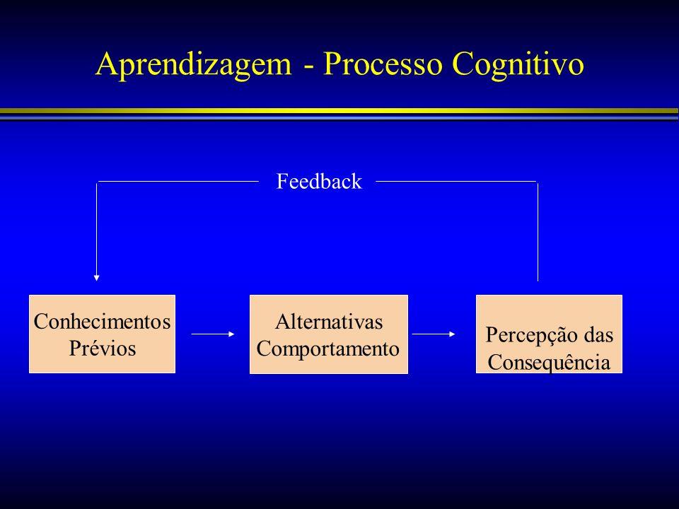 Aprendizagem - Processo Cognitivo Conhecimentos Prévios Alternativas Comportamento Percepção das Consequência Feedback
