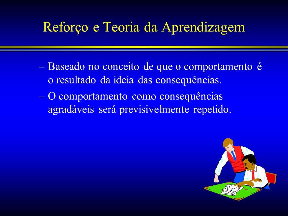 Reforço e Teoria da Aprendizagem –Baseado no conceito de que o comportamento é o resultado da ideia das consequências. –O comportamento como consequên