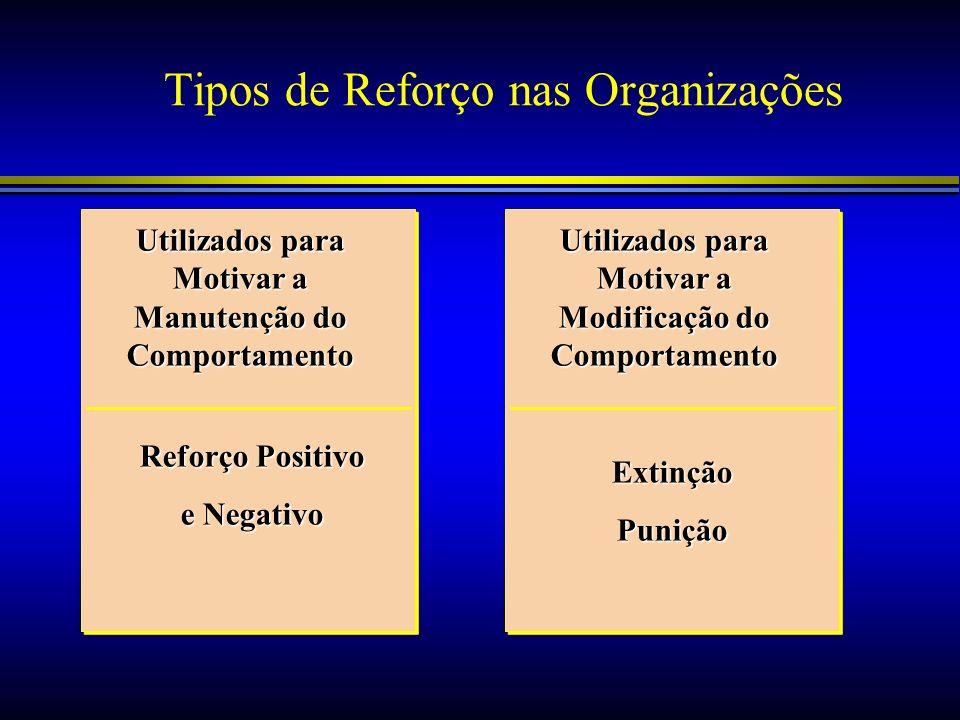 Tipos de Reforço nas Organizações Utilizados para Motivar a Manutenção do Comportamento Utilizados para Motivar a Modificação do Comportamento Reforço