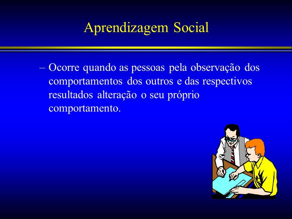 Aprendizagem Social –Ocorre quando as pessoas pela observação dos comportamentos dos outros e das respectivos resultados alteração o seu próprio compo