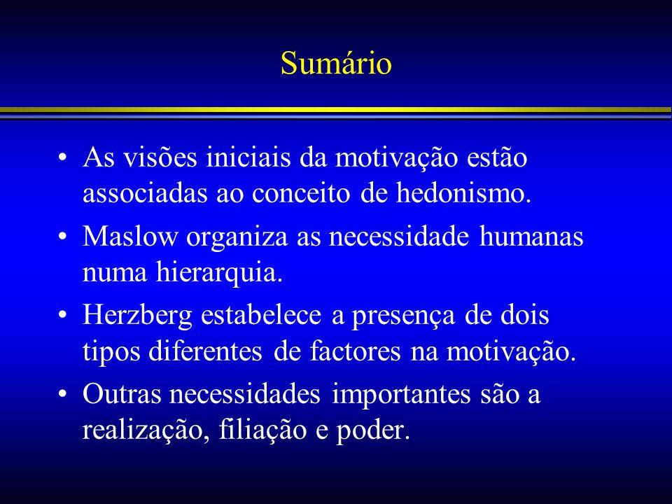 Sumário As visões iniciais da motivação estão associadas ao conceito de hedonismo. Maslow organiza as necessidade humanas numa hierarquia. Herzberg es