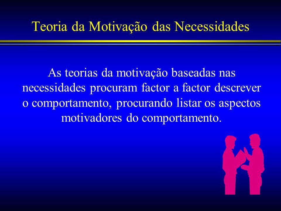 Teoria da Motivação das Necessidades As teorias da motivação baseadas nas necessidades procuram factor a factor descrever o comportamento, procurando