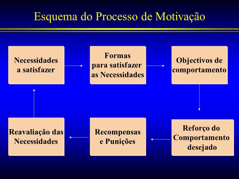 Esquema do Processo de Motivação Necessidades a satisfazer Necessidades a satisfazer Formas para satisfazer as Necessidades Formas para satisfazer as