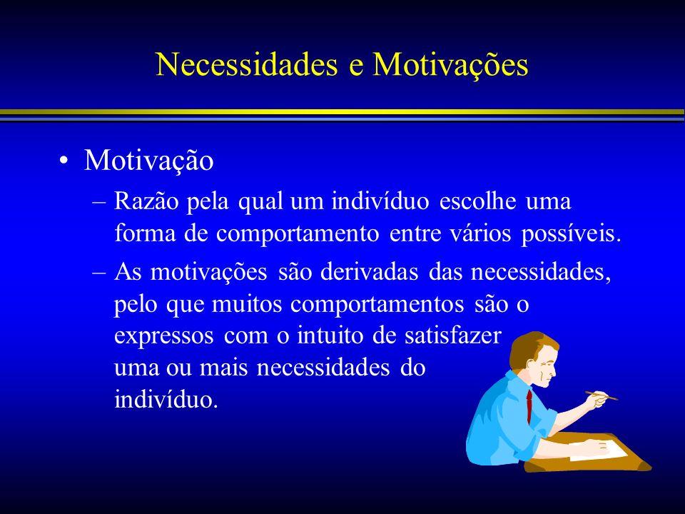 Necessidades e Motivações Motivação –Razão pela qual um indivíduo escolhe uma forma de comportamento entre vários possíveis. –As motivações são deriva