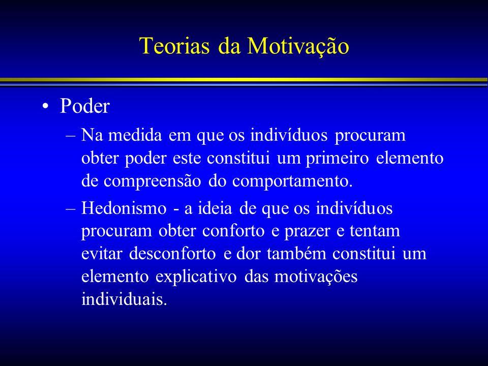 Teorias da Motivação Poder –Na medida em que os indivíduos procuram obter poder este constitui um primeiro elemento de compreensão do comportamento. –
