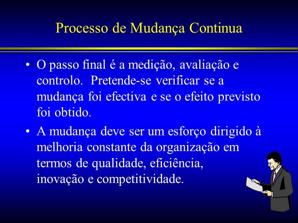 Processo de Mudança Continua O passo final é a medição, avaliação e controlo. Pretende-se verificar se a mudança foi efectiva e se o efeito previsto f