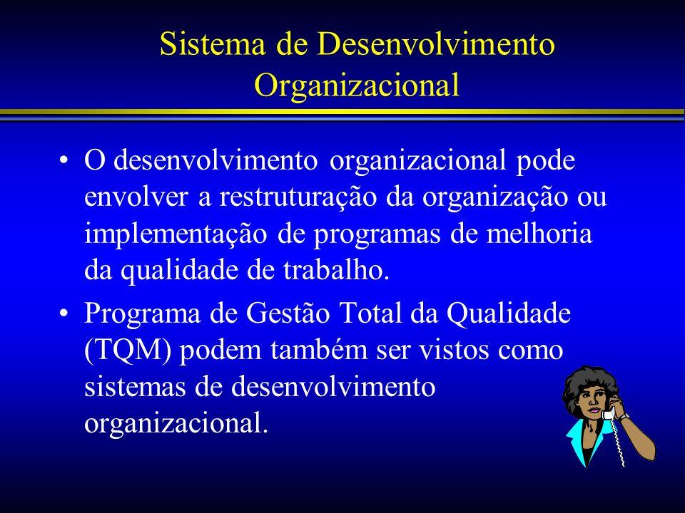 Sistema de Desenvolvimento Organizacional O desenvolvimento organizacional pode envolver a restruturação da organização ou implementação de programas