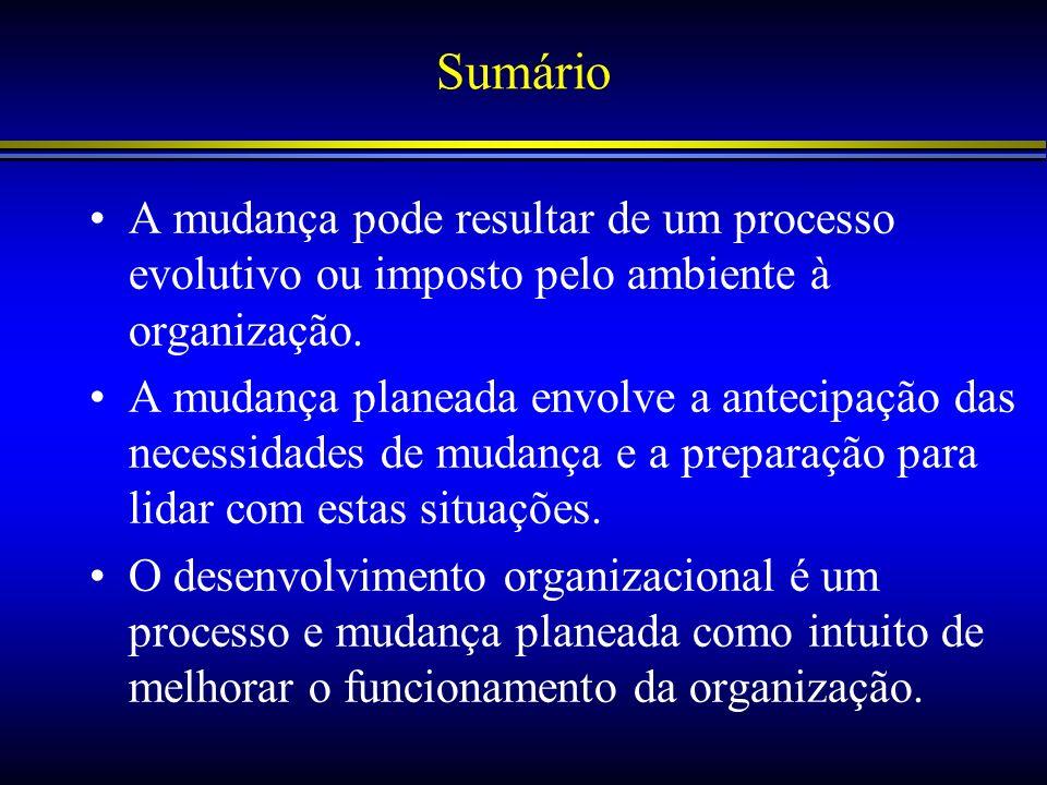 Sumário A mudança pode resultar de um processo evolutivo ou imposto pelo ambiente à organização. A mudança planeada envolve a antecipação das necessid