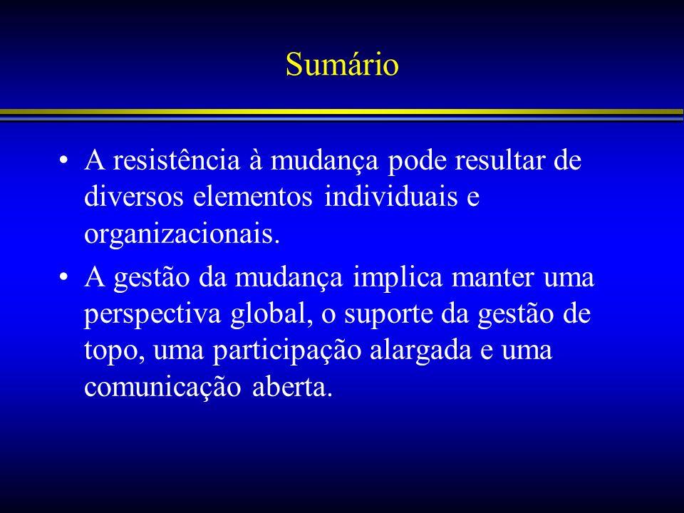 Sumário A resistência à mudança pode resultar de diversos elementos individuais e organizacionais. A gestão da mudança implica manter uma perspectiva