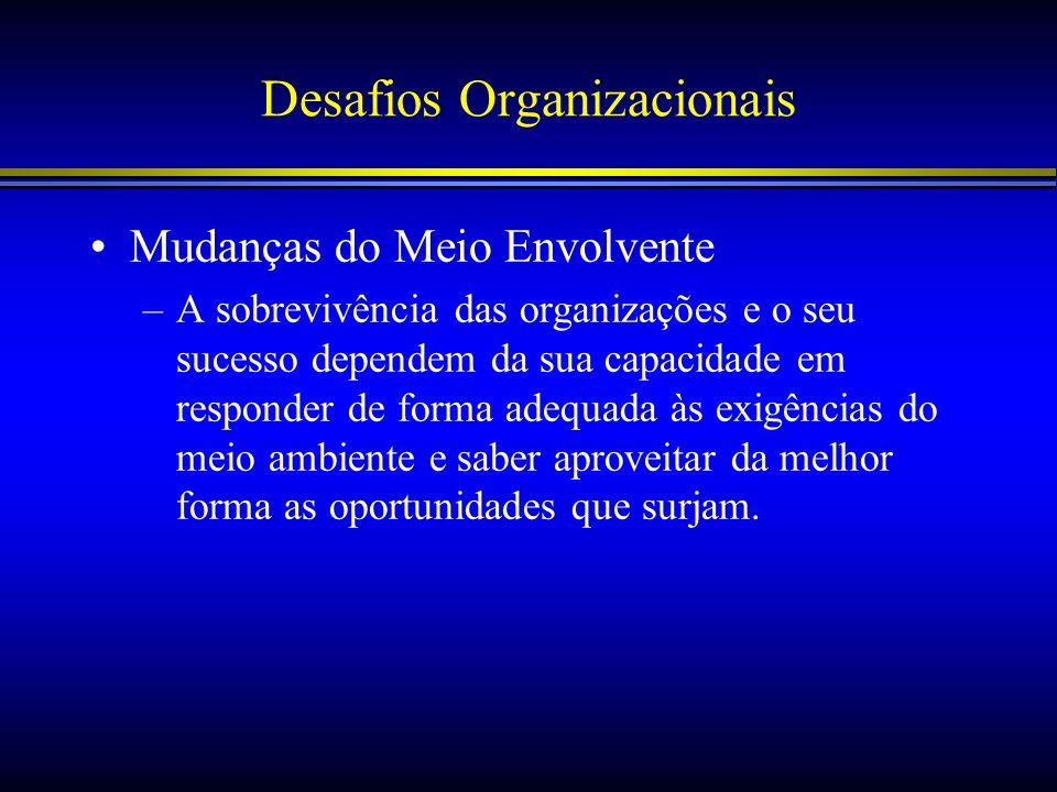 Desafios Organizacionais Mudanças do Meio Envolvente –A sobrevivência das organizações e o seu sucesso dependem da sua capacidade em responder de form