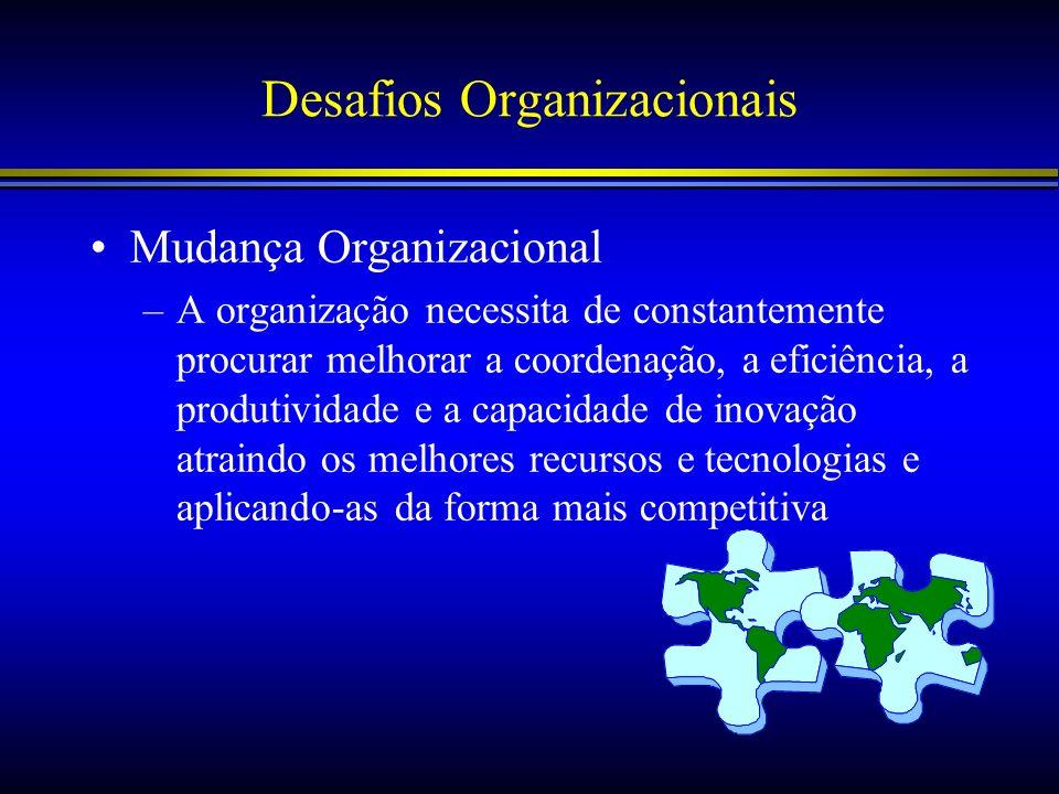Desafios Organizacionais Mudança Organizacional –A organização necessita de constantemente procurar melhorar a coordenação, a eficiência, a produtivid