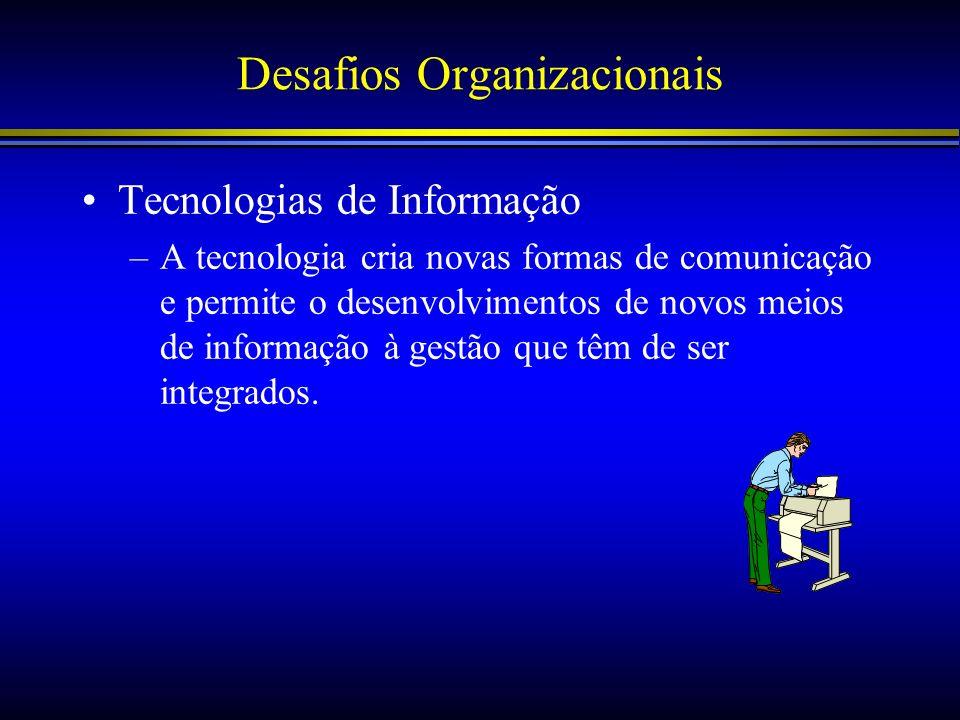 Desafios Organizacionais Tecnologias de Informação –A tecnologia cria novas formas de comunicação e permite o desenvolvimentos de novos meios de infor