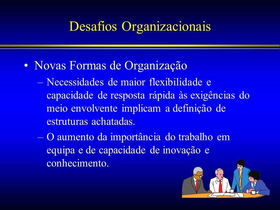 Desafios Organizacionais Novas Formas de Organização –Necessidades de maior flexibilidade e capacidade de resposta rápida às exigências do meio envolv