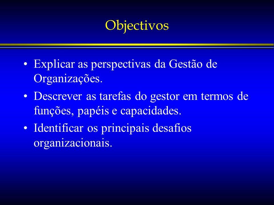 Objectivos Explicar as perspectivas da Gestão de Organizações. Descrever as tarefas do gestor em termos de funções, papéis e capacidades. Identificar