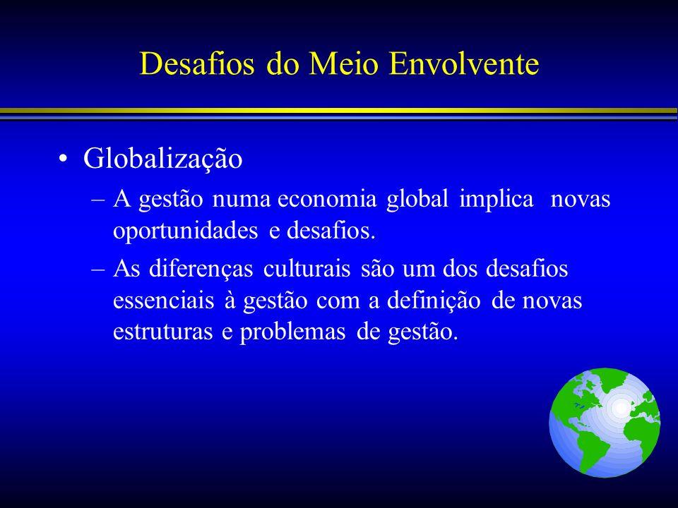 Desafios do Meio Envolvente Globalização –A gestão numa economia global implica novas oportunidades e desafios. –As diferenças culturais são um dos de