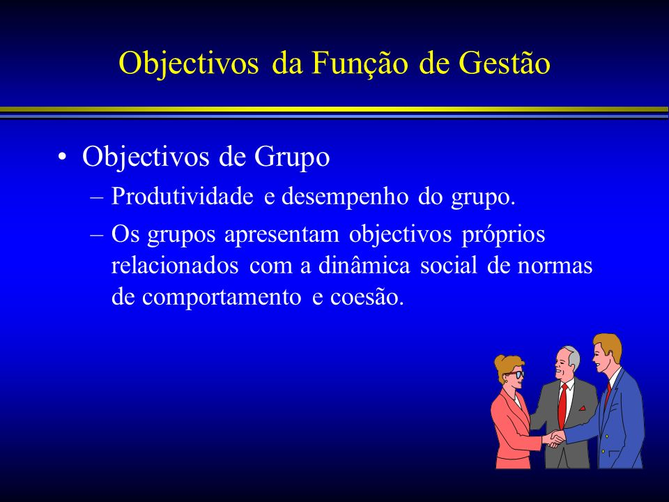 Objectivos da Função de Gestão Objectivos de Grupo –Produtividade e desempenho do grupo. –Os grupos apresentam objectivos próprios relacionados com a