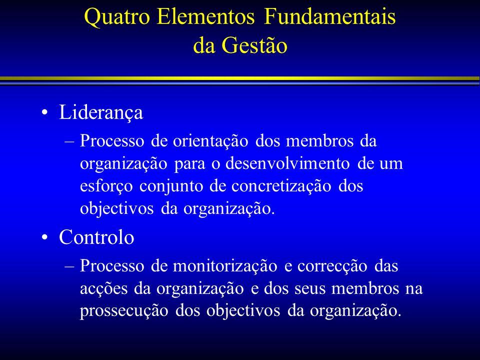 Quatro Elementos Fundamentais da Gestão Liderança –Processo de orientação dos membros da organização para o desenvolvimento de um esforço conjunto de