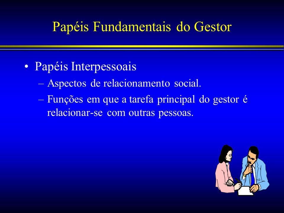 Papéis Fundamentais do Gestor Papéis Interpessoais –Aspectos de relacionamento social. –Funções em que a tarefa principal do gestor é relacionar-se co