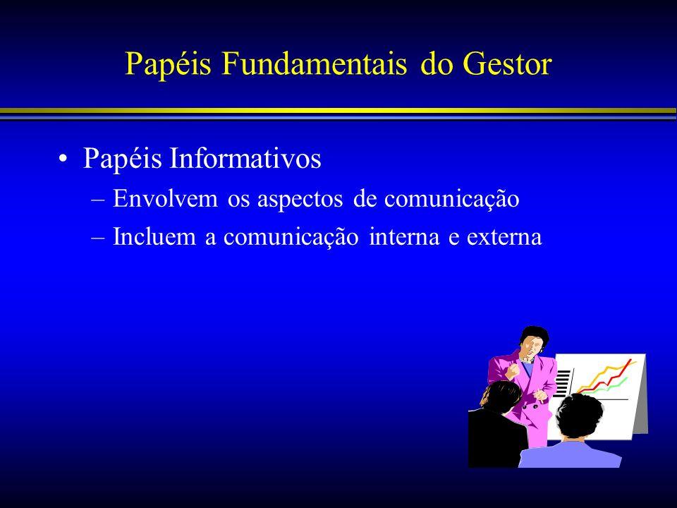 Papéis Fundamentais do Gestor Papéis Informativos –Envolvem os aspectos de comunicação –Incluem a comunicação interna e externa