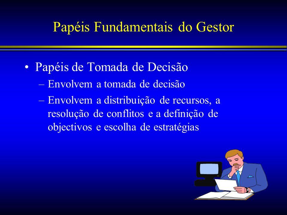 Papéis Fundamentais do Gestor Papéis de Tomada de Decisão –Envolvem a tomada de decisão –Envolvem a distribuição de recursos, a resolução de conflitos