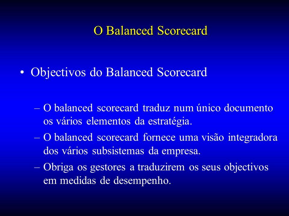 Objectivos do Balanced Scorecard –O balanced scorecard traduz num único documento os vários elementos da estratégia. –O balanced scorecard fornece uma