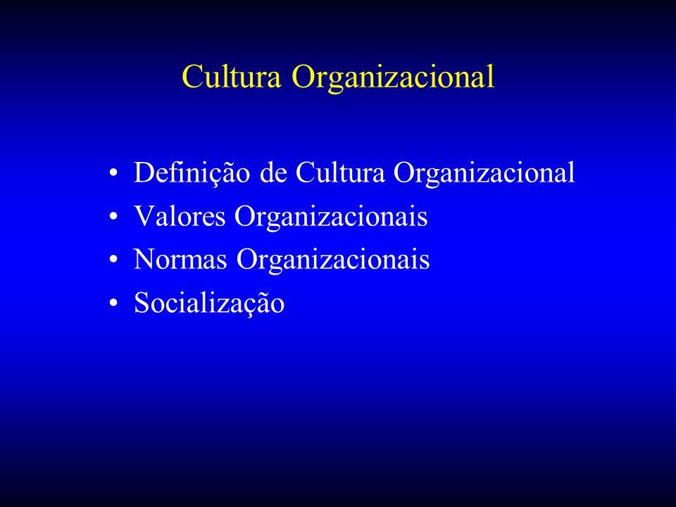 Cultura Organizacional Definição de Cultura Organizacional Valores Organizacionais Normas Organizacionais Socialização