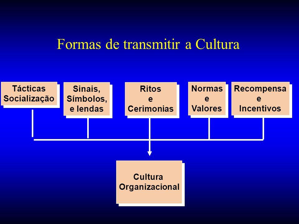 Formas de transmitir a Cultura Sinais, Símbolos, e lendas Sinais, Símbolos, e lendas Ritos e Cerimonias Ritos e Cerimonias Tácticas Socialização Tácti