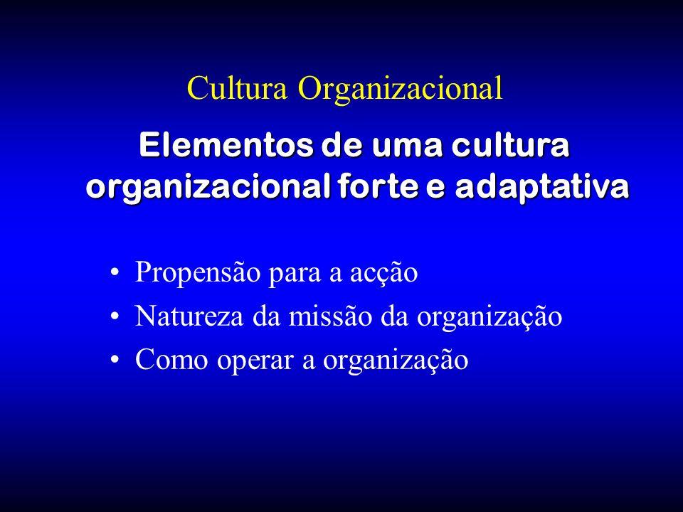 Cultura Organizacional Propensão para a acção Natureza da missão da organização Como operar a organização Elementos de uma cultura organizacional fort