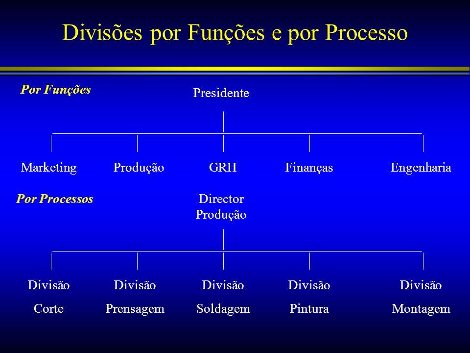 Divisões por Funções e por Processo Presidente MarketingProduçãoGRHFinançasEngenharia Director Produção Divisão Corte Divisão Prensagem Divisão Soldag