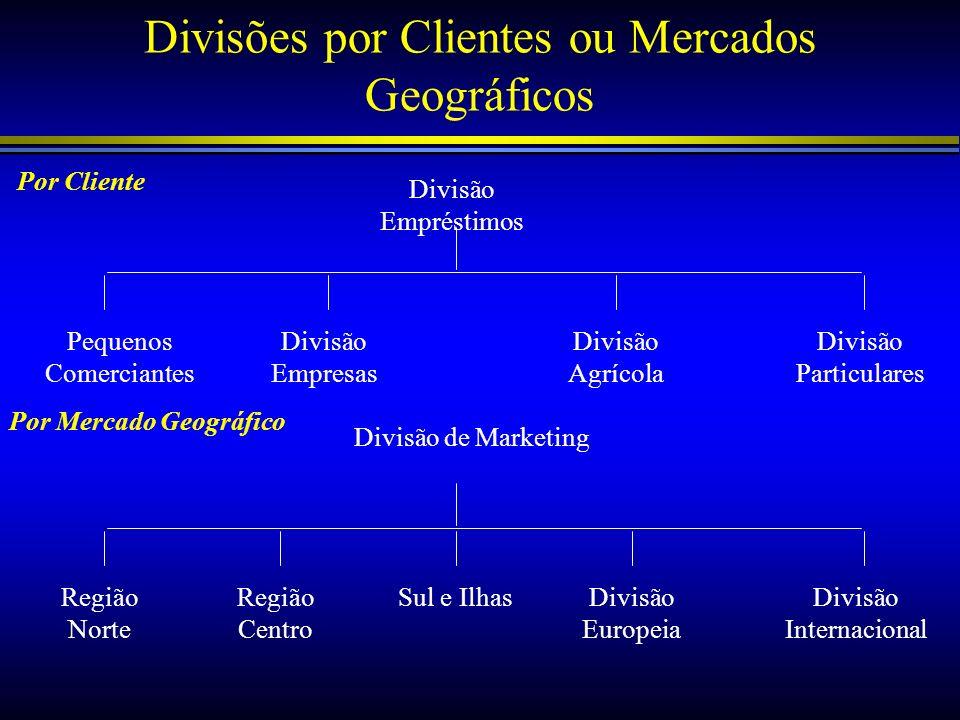 Divisões por Clientes ou Mercados Geográficos Divisão Empréstimos Pequenos Comerciantes Divisão Empresas Divisão Agrícola Divisão Particulares Divisão