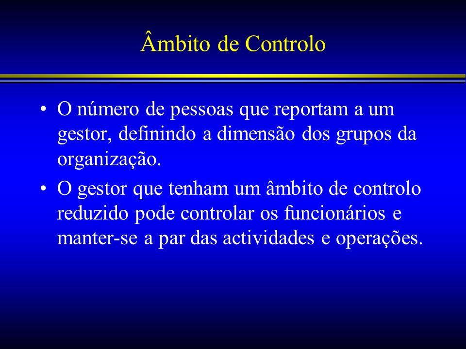 Âmbito de Controlo O número de pessoas que reportam a um gestor, definindo a dimensão dos grupos da organização. O gestor que tenham um âmbito de cont