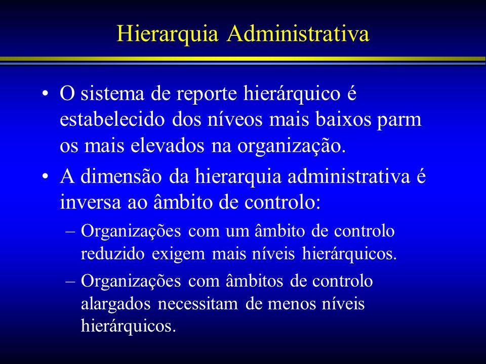 Hierarquia Administrativa O sistema de reporte hierárquico é estabelecido dos níveos mais baixos parm os mais elevados na organização. A dimensão da h