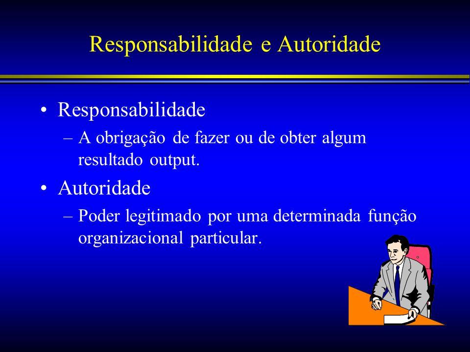 Responsabilidade e Autoridade Responsabilidade –A obrigação de fazer ou de obter algum resultado output. Autoridade –Poder legitimado por uma determin